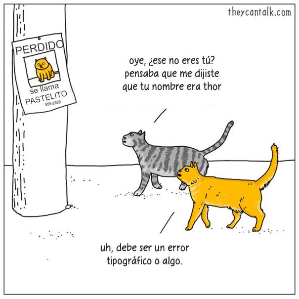 Ilustración de dos gatos caminando por la calle