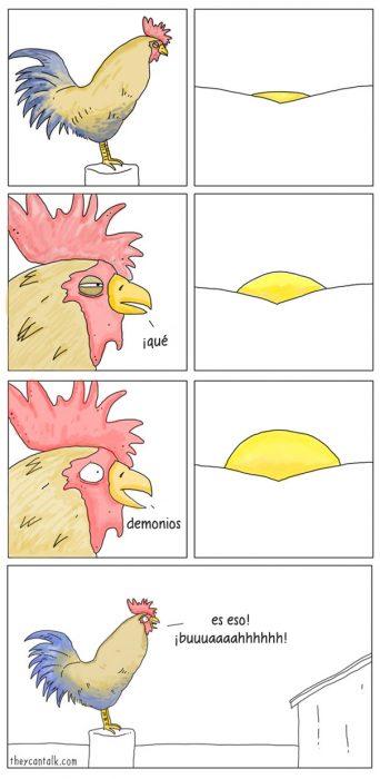 Ilustración de un gallo viendo el atardecer