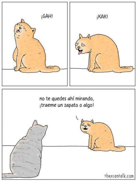 Ilustración de dos gatos conversando
