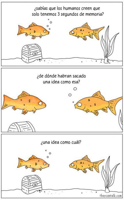 Ilustración donde aparecen dos peces hablando