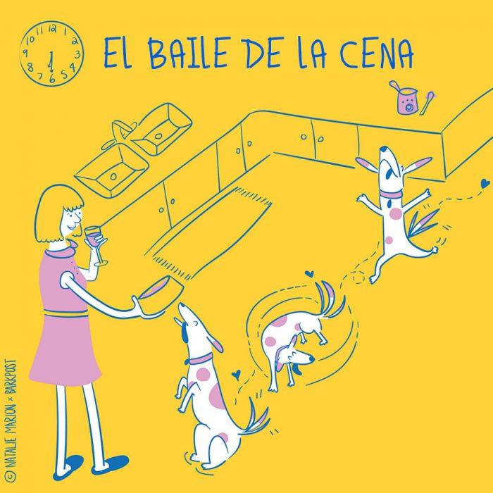 Ilustración ser mamá de un perro es: la hora de la cena