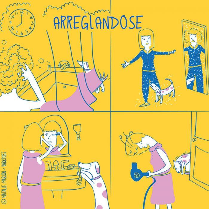 Ilustración ser mamá de un perro es: arreglarse