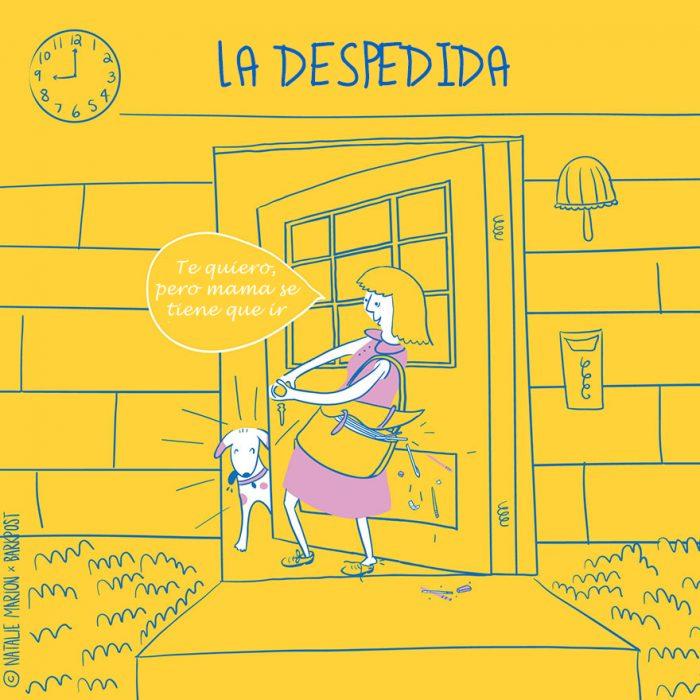 Ilustración ser mamá de un perro es: la despedida