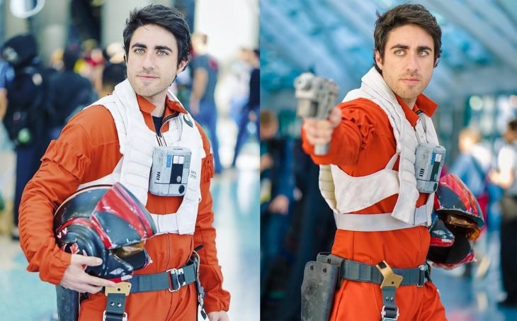 Leo camacho interpretando a Poe Dameron de Star Wars