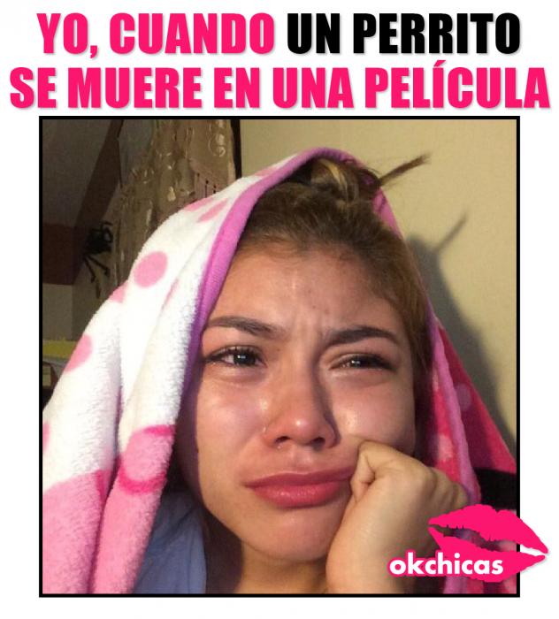 meme ok chicas chica llorando con cobija