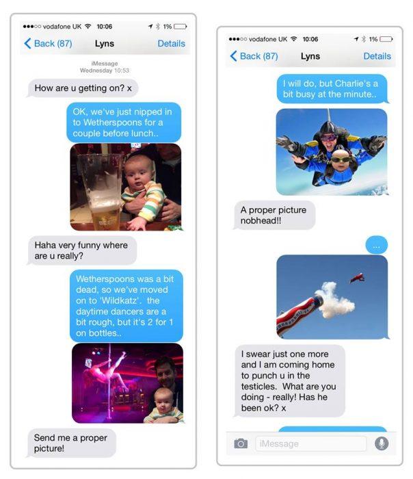 mensajes de texto Matt Coyne y su esposa