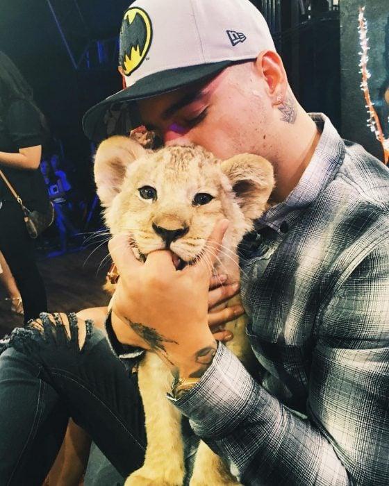 Maluma besando un león