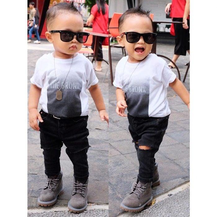 bebé con lentes de sol