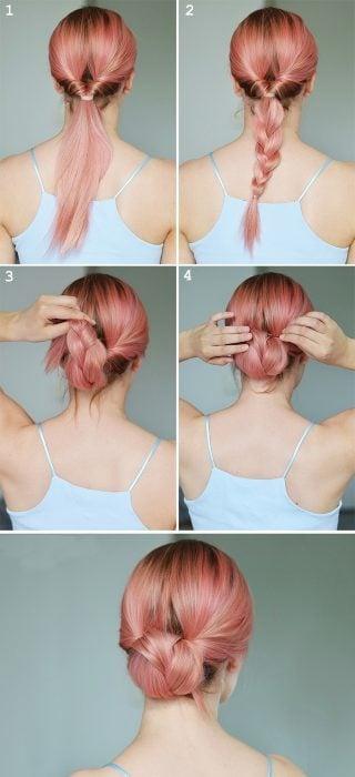 Chica mostrando paso a paso como hacer un peinado con trenza