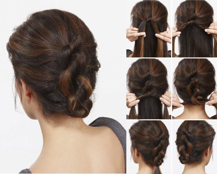 Chica mostrando paso a paso como hacer un peinado con trenzas