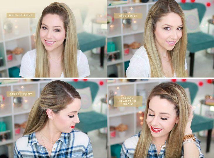Chica mostrando cuatro sencillos peinados
