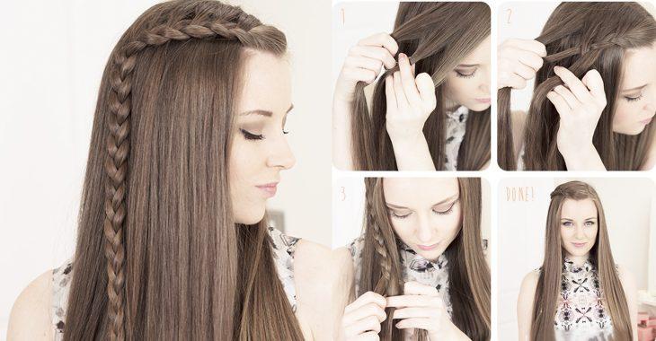 Peinado para niña mostrando tutorial para hacer una trenza lateral