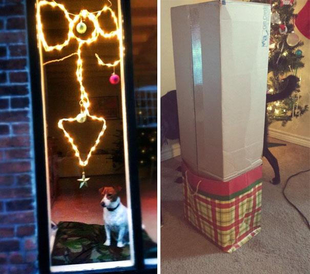 Diferencias de dos árboles de navidad
