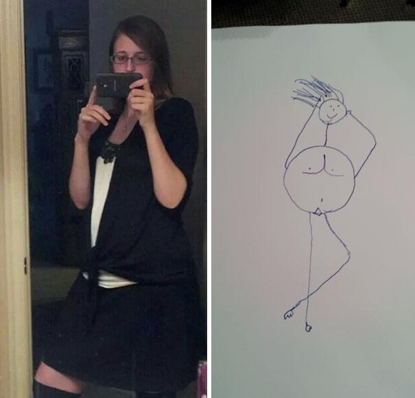 Dibujo de una chica que se está tomando una fotografía