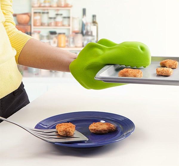 Guante de cocina en forma de dinosaurio