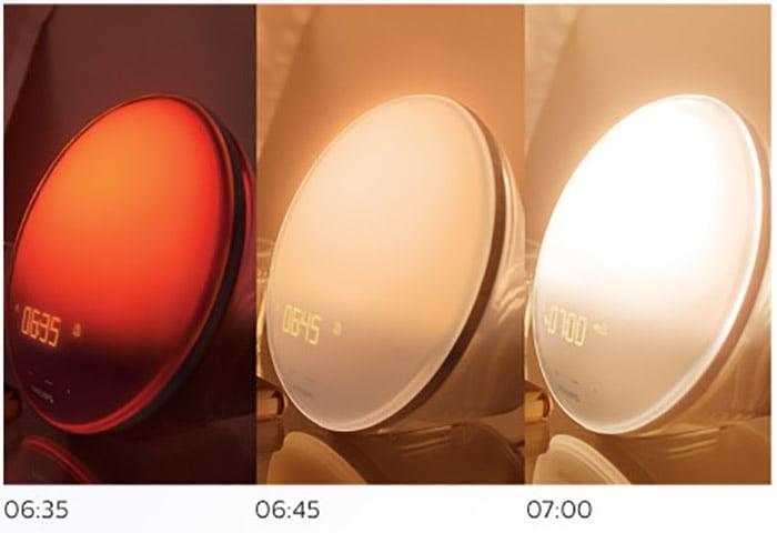 lampara despertador diferentes tonos de luz
