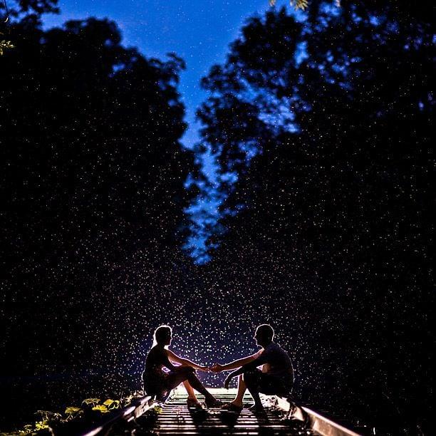 pareja sentada en la oscuridad y arboles