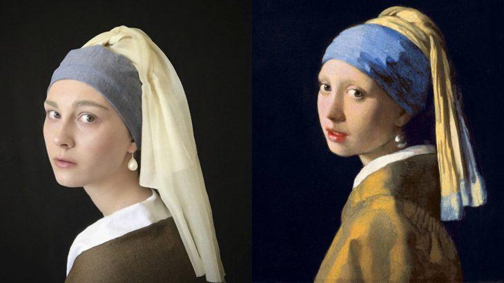 Chica imitando a la mujer con el arete de perla