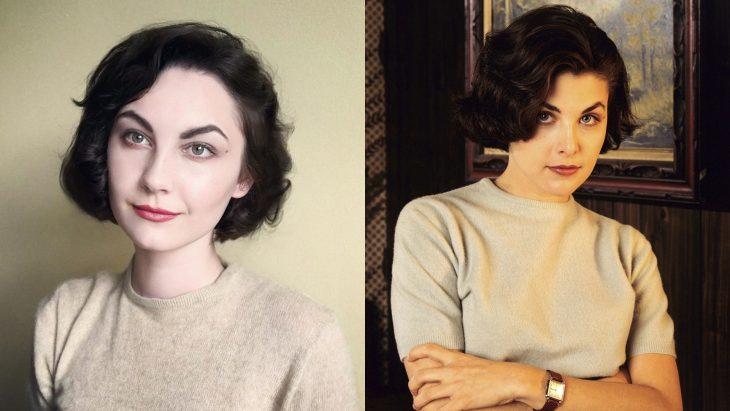 Chica imitando a Audrey Horne