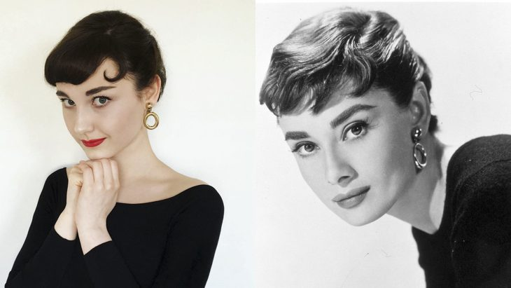 Chica imitando a Audrey Hepburn
