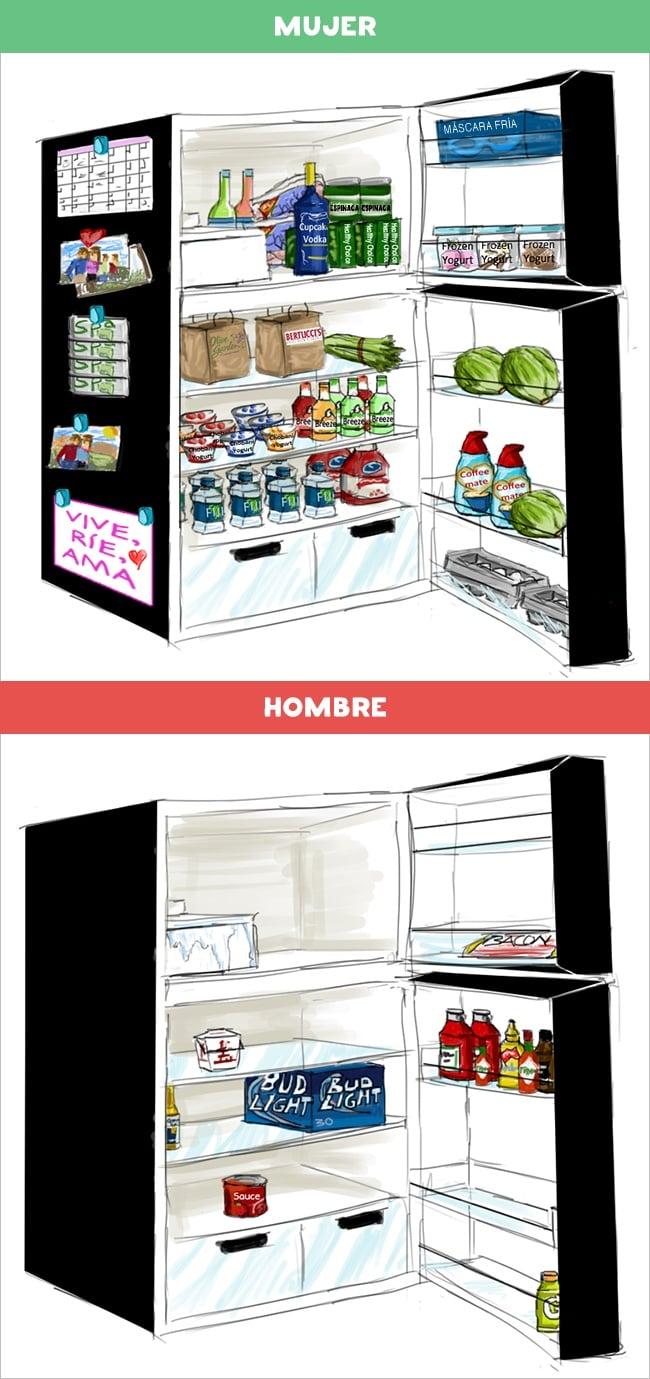 DIFERENCIAS HOMBRES MUJERES - refrigerador de una mujer y de un hombre