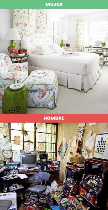 DIFERENCIAS HOMBRES MUJERES - La decoración del cuarto de un hombre y de una mujer