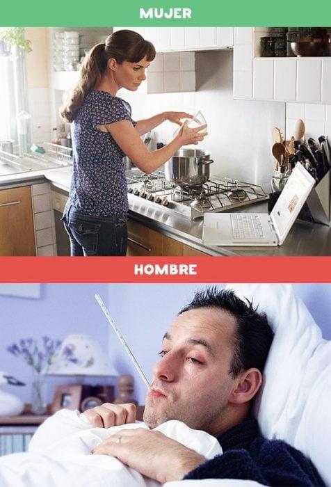 DIFERENCIAS HOMBRES MUJERES - Cuando un hombre se enferma y cuando una mujer se enferma