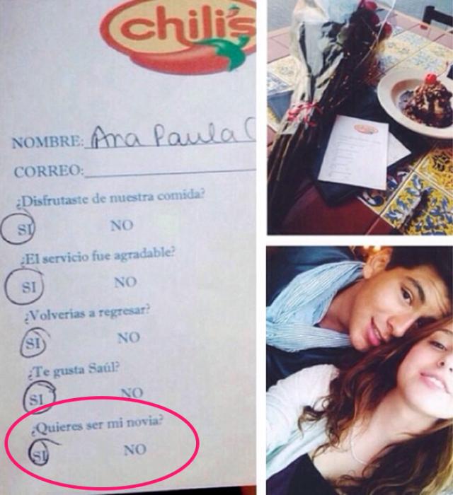 encuesta en restaurante pareja sorpresa de novios