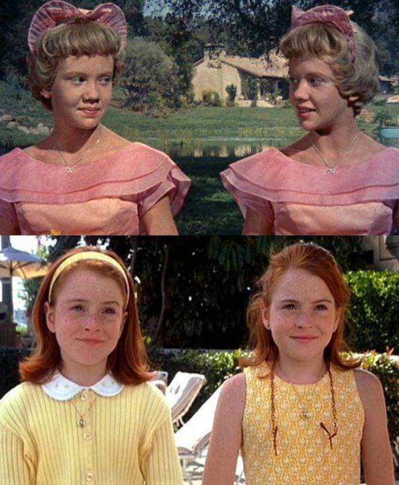 gemelas rubias con vestidos rosas y gemelas pelirrojas con vestido amarillo