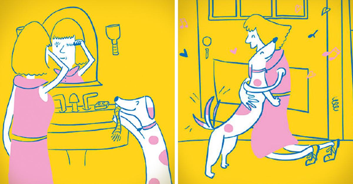 10 Ilustraciones que expresan lo adorable que es ser mamá de un perro
