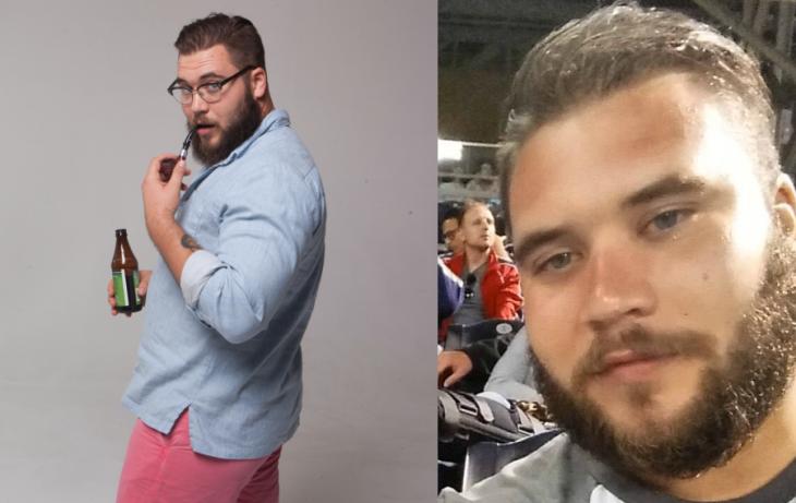 hombre talla grande modelo short y camisa azul