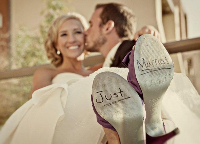 hombre con esposa recien casados