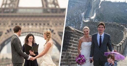 Pareja de viajeros se casa en 8 paises
