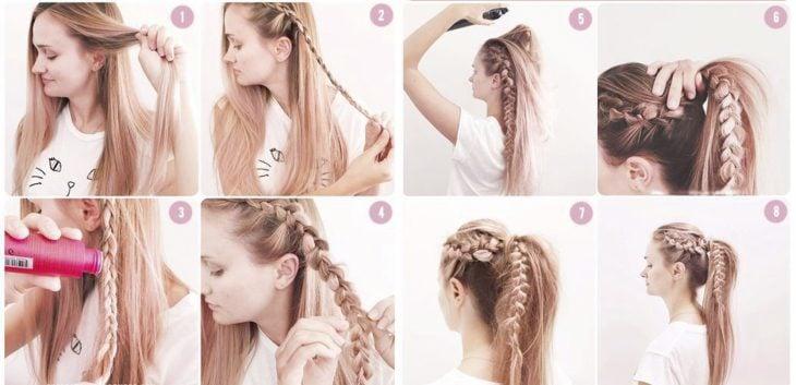 Chica mostrando paso a paso como hacer una coleta de cabello con trenza