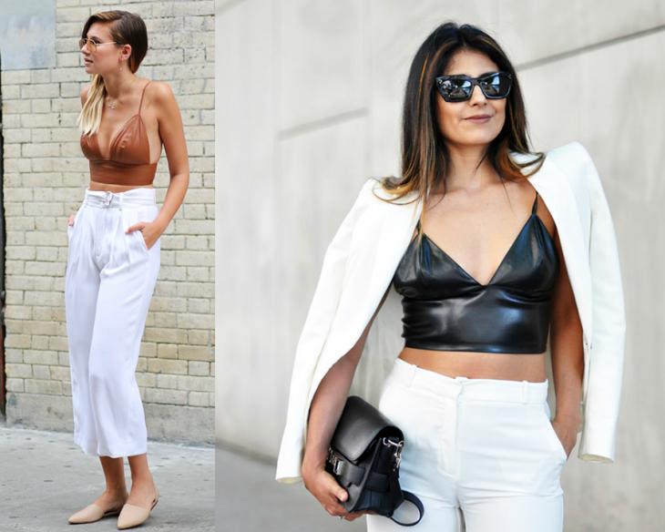 mujeres con pantalon blanco y bralete de piel
