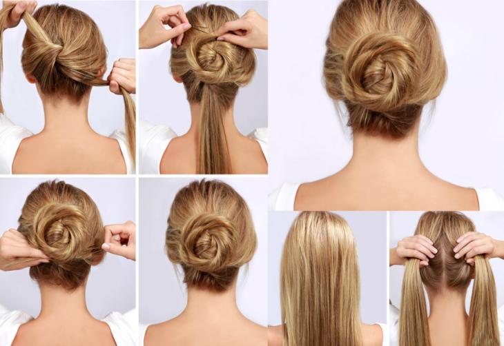 tutorial peinados mujer rubia de espaldas chongo
