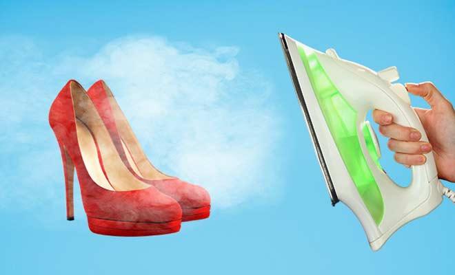zapatos de gamuza con vapor de plancha