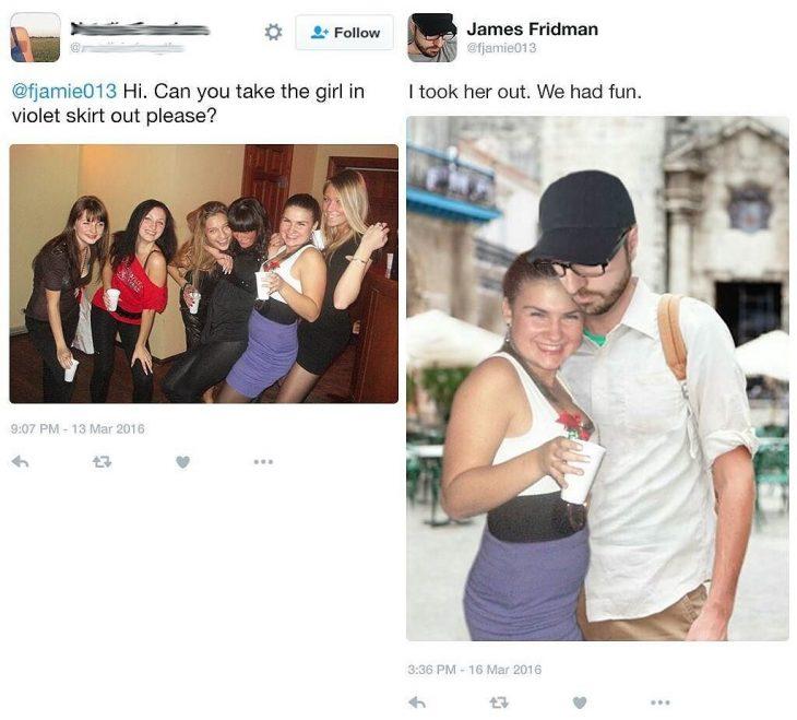 Broma con photoshop chicas y mujer con falda morada al lado de un hombre