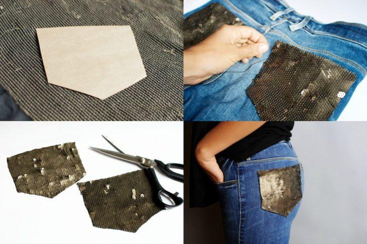 jeans con bolsas traseras cosidas con lentejuelas