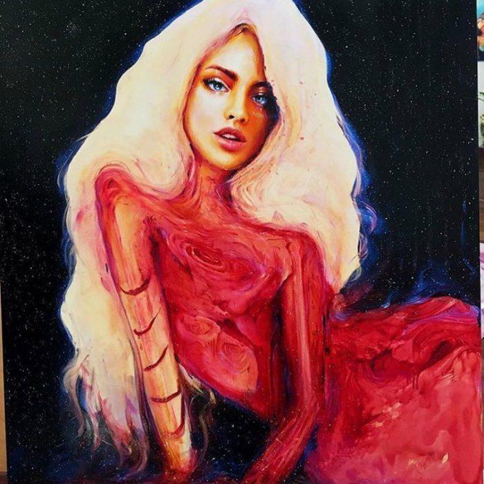 pintura de mujer con cabello rubio