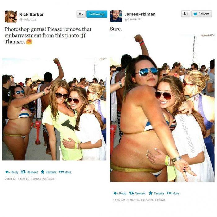 Broma con photoshop mujer abrazando a mujer grande en bikini