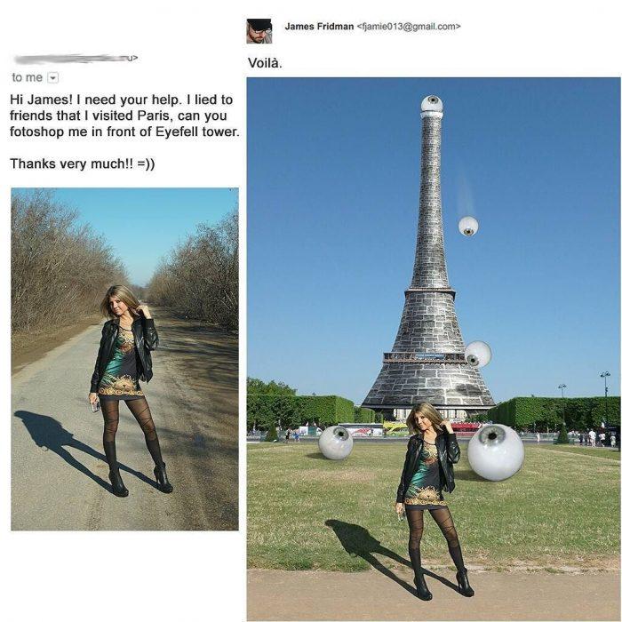 Broma con photoshop mujer en con torre eiffel y ojos