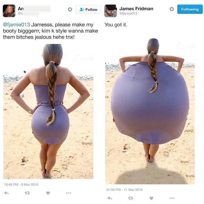 Broma con photoshop mujer con vestido morado en la playa y trasero gigante