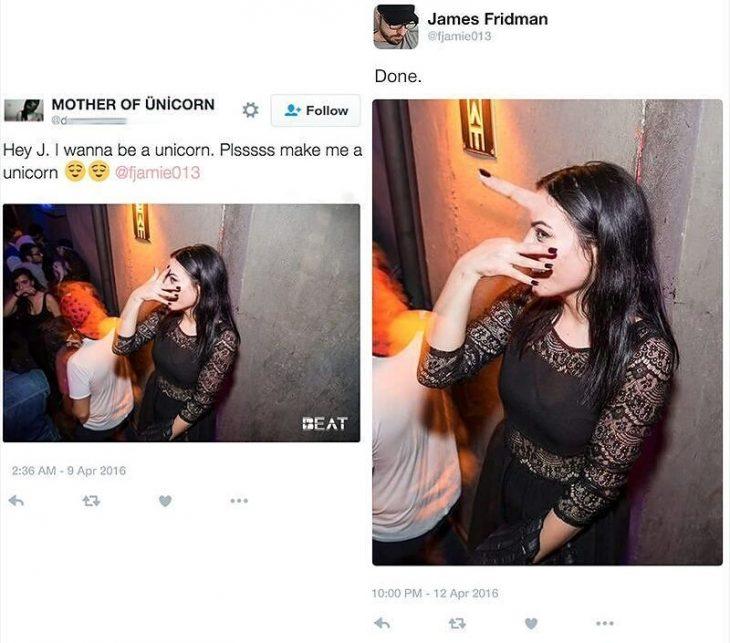 Broma con photoshop mujer con vestido negro y dedo en la frente