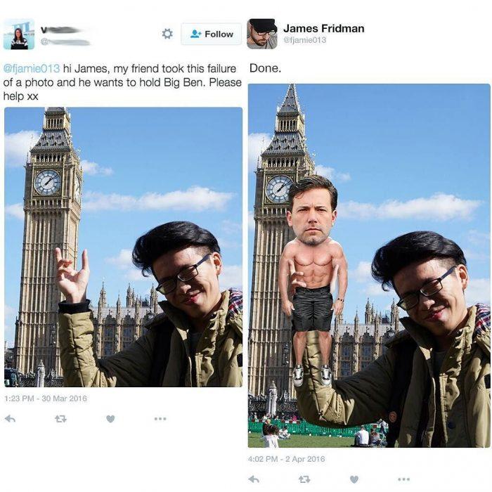 Broma con photoshop hombre con reloj big ben affleck