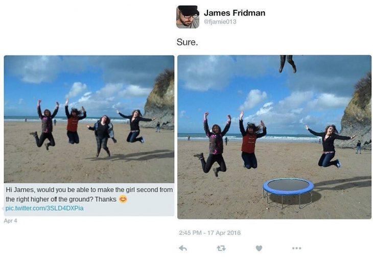 Broma con photoshop mujeres saltando en la playa