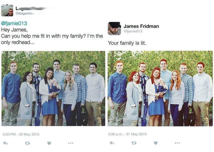 Broma con photoshop familia pelirroja
