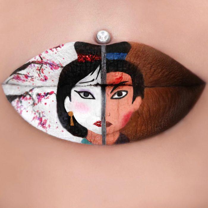 Labios grandes con pearcing pintura de geisha y guerrero mulan
