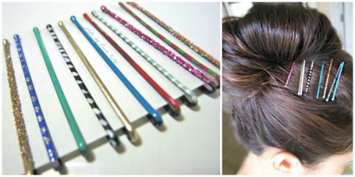pasadores de cabello decorados de diferentes colores
