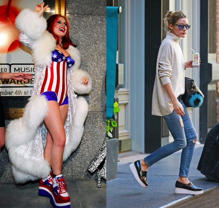 antes y después de la moda de los 90's zapatos de plataforma de las spice girls